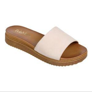 Bella Marie Nude Single Band Wedge Slide On Sandal